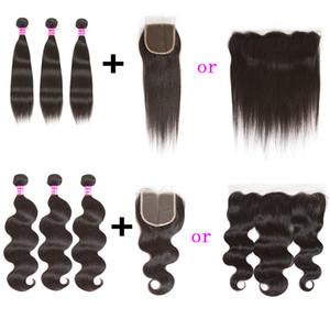 Cheveux vierges péruviens 3 bundles vague de corps droite extension de cheveux avec 13x4 dentelle frontale ou 4x4 fermeture de dentelle et armure de cheveux humains