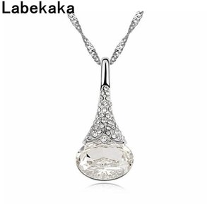 Labekaka Water Drop Crystal from Swarovski Fashion Necklace Pendants Women's Unique Party Cocktail Jewelry Wave Chain