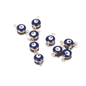 100 pz / lotto 11 * 7mm Hot Fashion Blue Evil Eye Beads Charm Connettori Fit braccialetti Charm fai da te risultati all'ingrosso