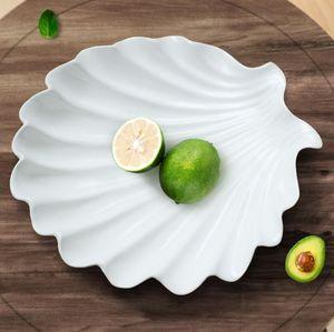 세라믹 흰 껍질 과일 사탕 보관 접시 디저트 스낵 샐러드 접시 홈 장식 웨딩 장식 수공예 입상 선물