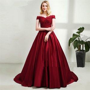 2018 우아한 붉은 새틴 긴 댄스 파티 드레스 V 어깨 너머 이브닝 가운 사용자 정의 비즈 이브닝 드레스 Vestidos Formales 드 Noche