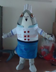Chef Fish mascot costume Free Shipping Adult Size,cook fish luxury plush toy carnival party celebrates mascot factory sales.