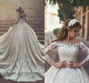 Uzun Kollu ile prenses Gelinlik 2018 Mütevazı Lüks Tam 3D Çiçek Dantel Katedrali Tren Kilisesi Bahçe Dubai Arapça Gelin törenlerinde