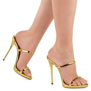 Verano Sandalias de tiras delgadas Slipper Tacones Altos Oro Plata Sandalias de Gladiador de Cuero Diapositivas de Las Mujeres Zapatos Mujer Sandalias Mujer