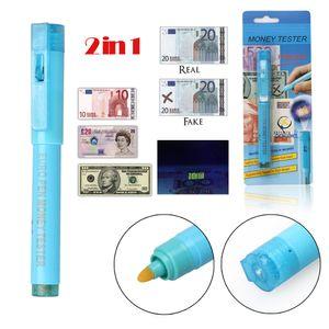 2 in 1 Penna rilevatore di denaro contraffatto Portatile indicatore di valuta Rivelatore di valuta Tester Penna Money Checker UV Light