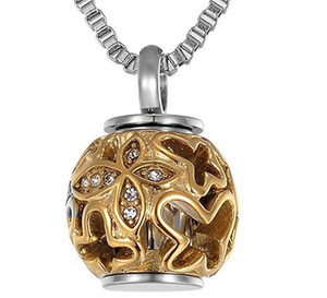 Hot pin gold hollow butterfly stainless steel urn pendant