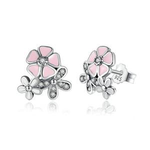 Lujo 925 Plata Esterlina Poetic Daisy Cherry Blossom Pendientes de Gota Clear Pink CZ Flor Mujeres Studs Studs Para las mujeres Joyería de Moda