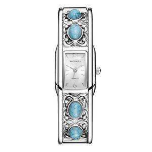 Женщина моды платье часы Браслет Ремешок дизайн Emerald Ретро стиль Кварцевые часы Хороший подарок ракушка циферблат наручные часы Rhinestone