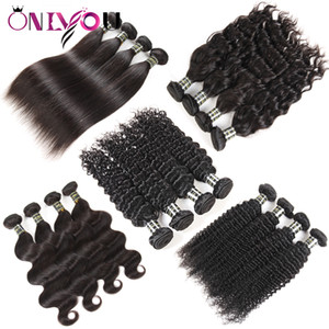 10A Grade Brazilian Virgin Hair Human Hair Extensions Weave 5 or 6 Bundles Straight Hair Body Deep Water Wave Kinky Curly Natural Black