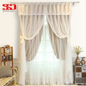 Kore Püsküller Voile + Kumaş Perdeler Yatak Odası Salon Panjur Şeffaf Veil Blackout Liner Pencere Tül Perde Gölgelendirme% 90 için