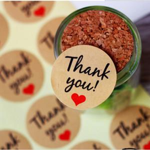 """Papel Kraft """"Gracias"""" Etiqueta Adhesiva con corazón rojo, Diámetro 38mm Sello Etiqueta Adhesiva para la decoración de Regalo de DIY y Pastel de Hornear Embalaje"""