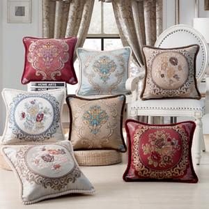 Asiento de lujo de la cubierta del amortiguador Cultura Europea Sofá clásico tirar almohada Casos florales bordado decorativo del hogar fundas de almohada 18x18 BH18048