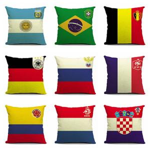 Dünya Kupası Avrupa Birliği Takım Pamuk Keten Yastık Örtüsü Kanepe Yastık Futbol Hayranları Hediye Ulusal bayraklar Keten Yastık Kılıfı