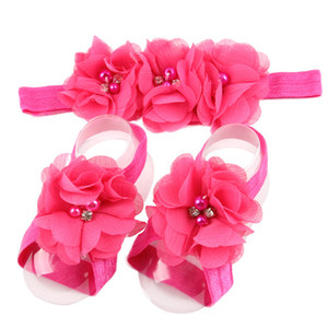 НОВОЕ ПРИБЫТИЕ!13 цветов toddle дети ноги цветок босиком сандалии+оголовье набор для новорожденных девочек с jingle bell F6