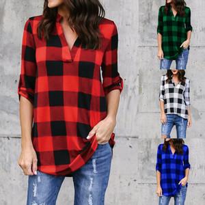 Camisas a cuadros de las mujeres más el tamaño S-5XL Blusa casual Cuello en V pliegues plisadas de un solo pecho europeo media manga de la moda Tops