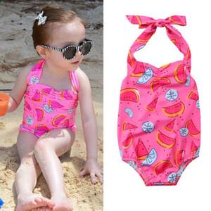핑크 수영복 키즈 베이비 걸스 수박 원피스 수영복 비키니 수영복 그린 여름 귀여운 비치웨어 여름 부티크 의류