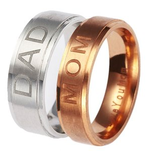 Pretty Stainless Steel ''MOM''''DAD'' Carving Ring Women Mens Couple Rings Gift for Mom and DAD
