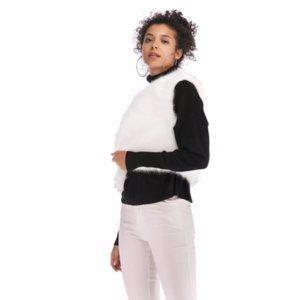 Womens Warm Outwear Women 민소매 백색 슬림 조끼 Faux Fur 조끼 자켓 Coat Cardigan Women Short Vest