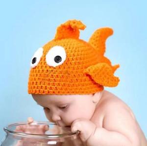 Meses bonitos do bebê Foto adereços chapéu artesanal babyclownfish peixe gorro de malha gorro recém-nascido gorro de lã cap gorros de crochê para meninos meninas