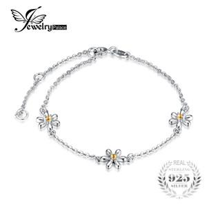 JewelryPalace Blumen 0.1ct Erstellt orange Saphir-Knöchel-Armband 925 Sterlingsilber Romantisches Schmuck Accessoires bestes Geschenk