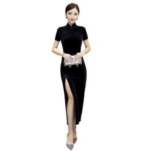 New longa sexy qipao longo vestido de veludo Cheongsam QiPao vestido de noite das mulheres chinesas Outono / Inverno Velour Cheongsams Vintage