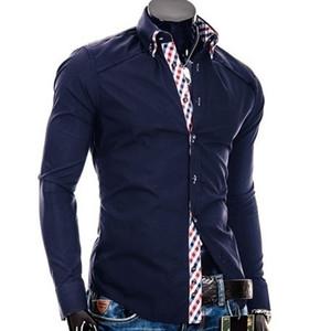 2015 New men's fashion long sleeved shirt
