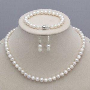 8-9mm Real Naturale d'acqua dolce perla collana bracciale orecchini insieme di gioielli