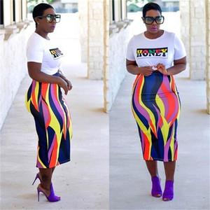 Envío gratis mujeres Sexy Letter Print Crop Top + Faldas Set de dos piezas Casual Slim Fit Outfit 2pcs trajes XXXL