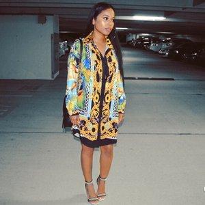 열대 우림 셔츠 드레스 여성 섹시 캐주얼 롱 셔츠 드레스 싱글 브레스트 인쇄하기