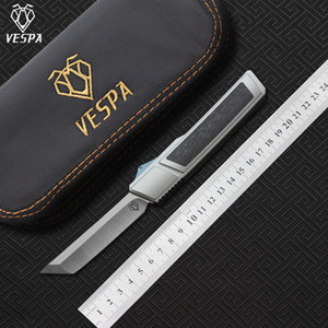 High quality VESPA Ripper folding Knife Blade:M390(Satin) Handle:7075Aluminum + CF,Outdoor camping survival knives EDC tools