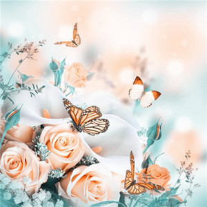 3D pintura diamante bricolaje punto de cruz flores mariposas flor cristal costura bordado de diamantes lleno de diamante decorativo
