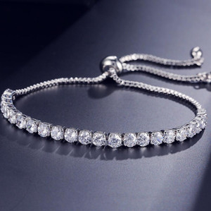 New Brand Simple Fashion Jewelry Hot Sale 18K White Gold Filled Multi Gemstones CZ Diamond Pulling Adjustable Lucky Bracelet For Women Gift