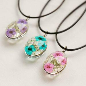 Fleur sèche naturelle déclaration colliers pendentifs faits à la main de haute qualité chaîne en cuir collier Long collier femme Boho cadeaux
