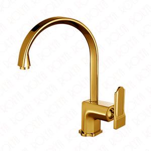 2018 Diseño de Patente Golden Laundry Faucet Fregadero Mezclador Gold Plate Kitchen Tap