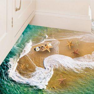 Hermosas ondas de remolino etiquetas engomadas DIY Decoración etiqueta de la pared 3d playa mar estrellas de mar del suelo del baño del cartel para niños Habitaciones Stikers SD161