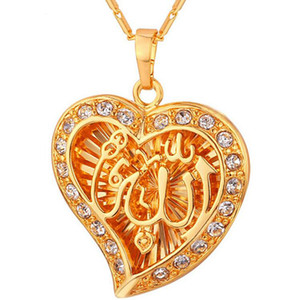 Clássico Árabe Muçulmano Jóias Por Atacado Da Cor do Ouro de Cristal Oco Forma de Coração Moda Pingentes Colares Para As Mulheres