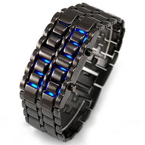 레저 패션 럭셔리 용암 강철 스트립 LED 크리 에이 티브 학생 블랙 실버 레드 블루 Led 빛 금속 합금 직사각형 디지털 시계