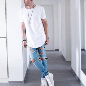 Wholesale-5color mens büyük ve uzun boylu giyim tasarımcısı citi trendleri tshirt homme kavisli hem tee düz beyaz genişletilmiş lengthen gömlek kpop