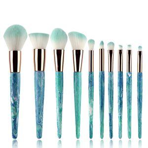 10 Stücke Marmor Streifen make-up Pinsel Set professionelle Lidschatten pinsel Contour Foundation Powder Concealer pinsel Schönheit Werkzeuge