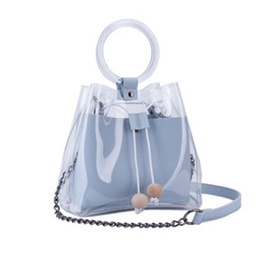 Summer Fashion PU Leather Handbags with Clear Transparent PVC Shopping Bag Plastic Beach Totes Shoulder Handbag