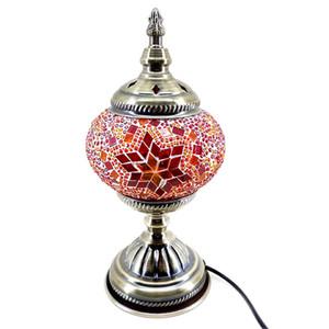OOVOV 동남 아시아 모자이크 침실 데스크 램프 아이 방 아기 방 Bedsides 유리 야간 조명 책상 조명 램프 H28cm