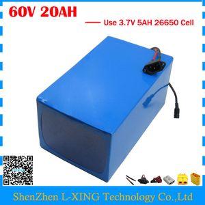 Tassa doganale libera 1500W 60V 20AH batteria al litio 60V bici elettrica Batteria con custodia in PVC uso 3.7V 5AH 26650 cella caricatore 2A