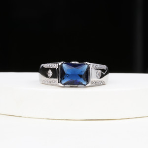 Mens Fashion Gift Jewelry White Gold Filled Sapphire CZ Zircon Wedding Band Finger Ring New Year Gift Sz8-13