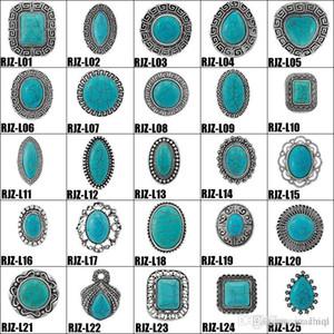 Anelli turchese di alta qualità 112 stili Vintage Turquoise Natural Stone Anelli Fashion Fashion Gemstone Femalemale Anello Free Size