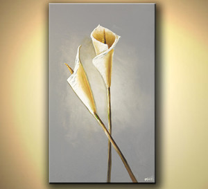 100% handgemalt Lily Öl Leinwand abstrakte Leinwand-Kunst-Wand-Ölgemälde-Malerei-Kunst-Natur-Malerei Schlafzimmer-Dekoration