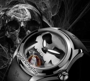 Yeni 45mm Admiral 'ın Kupası Kabarcık Çelik Kasa Siyah Dial Beyaz Kafatası Otomatik Tourbillon Mens Watch Kauçuk Cam Geri Spor Saatler Ucuz 51a1