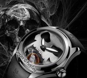 Дело Cup Дешевые резиновые Tourbillon 45мм черный циферблат Wgld White Skull Автоматическая стали Мужские часы Bubble Заднее стекло Часы Спорт адмирала