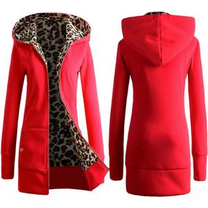 Женские толстовки толстовки 2021 осень зима теплый молния леопардовый принт толстый флис толстование утолщение удобной и свободной одежды
