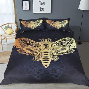 Completo Copripiumino Morte Set Copripiumino Tesoro Nero e Oro Tessili per la casa per adulti Farfalla Boho queen king size Biancheria da letto