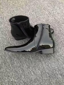nouveaux hommes bottes en cuir bottillons en cuir verni point mâle orteil mujer botas chaussures de soirée noir miroir en cuir bota piste masculine chaussures de tennis